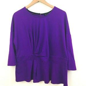 NWT! Eloquii Twist Front 3/4 Sleeve Purple Top